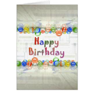Cartão de aniversário de mármore da fotografia da