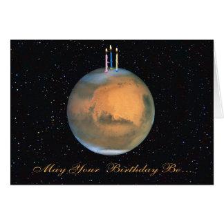 Cartão de aniversário de Marte do planeta