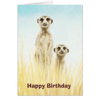 Cartão de aniversário de Meerkats