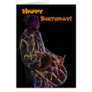 Cartão de aniversário de néon do baterista de Dhol