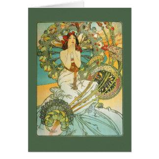 Cartão de aniversário de Nouveau da arte do