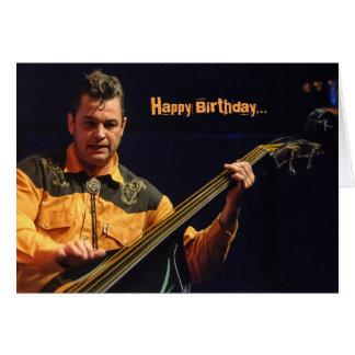 Cartão de aniversário de pé Rockabilly do baixista
