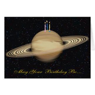 Cartão de aniversário de Saturn do planeta