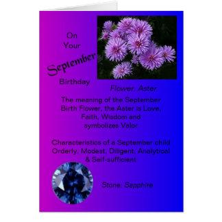 Cartão de aniversário de setembro - áster e safira
