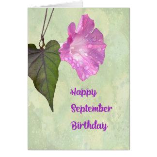 Cartão de aniversário de setembro com corriola