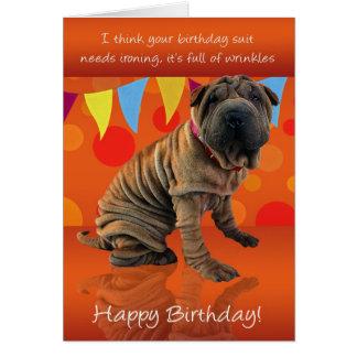 Cartão de aniversário de Shar Pei do divertimento