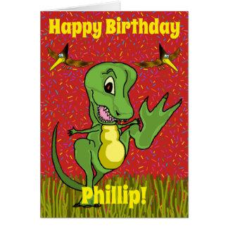 Cartão de aniversário de T-Rex