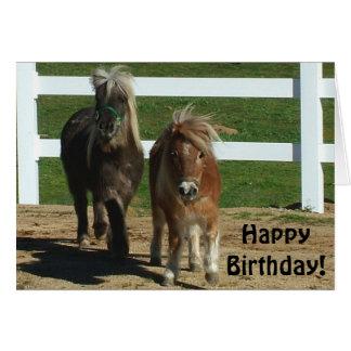 Cartão de aniversário diminuto bonito do cavalo