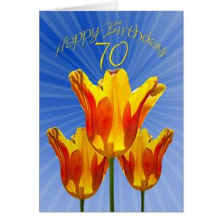 cartão de aniversário do 70, cheio das tulipas da