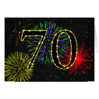 cartão de aniversário do 70 com fogos-de-artifício