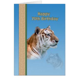 cartão de aniversário do 70 com tigre