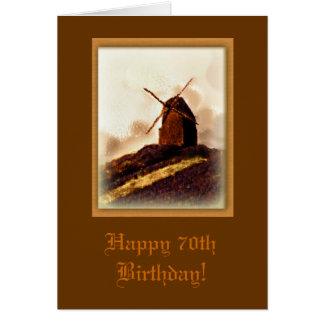 Cartão de aniversário do 70 do moinho de vento