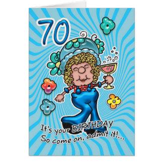 cartão de aniversário do 70 - senhora Com Vidro