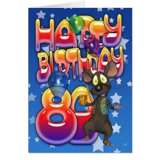 cartão de aniversário do 80 bonito com rato