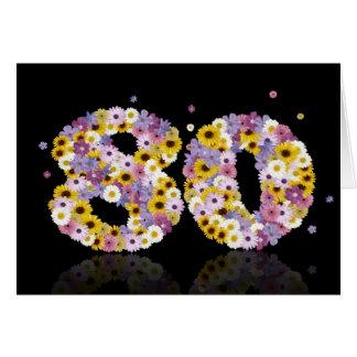 cartão de aniversário do 80 com letras floridos