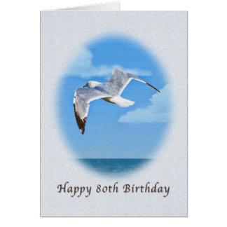 cartão de aniversário do 80 com o pássaro