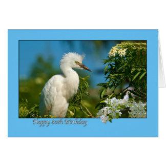 cartão de aniversário do 80 com o pássaro do Egret