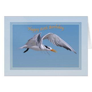 cartão de aniversário do 80 com o pássaro real da