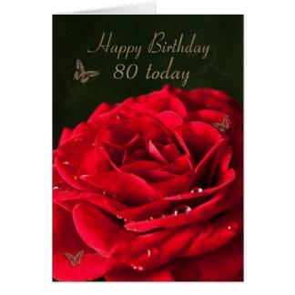 cartão de aniversário do 80 com uma rosa vermelha