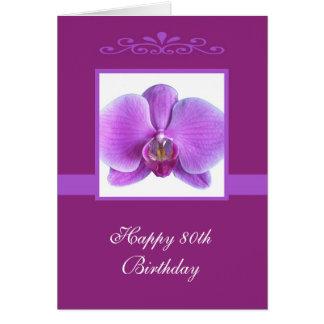 Cartão de aniversário do 80 da orquídea