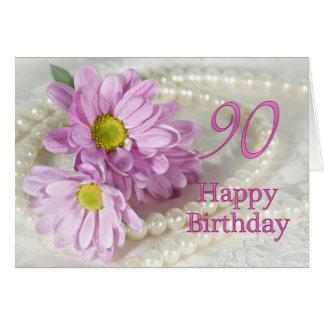 cartão de aniversário do 90 com margaridas