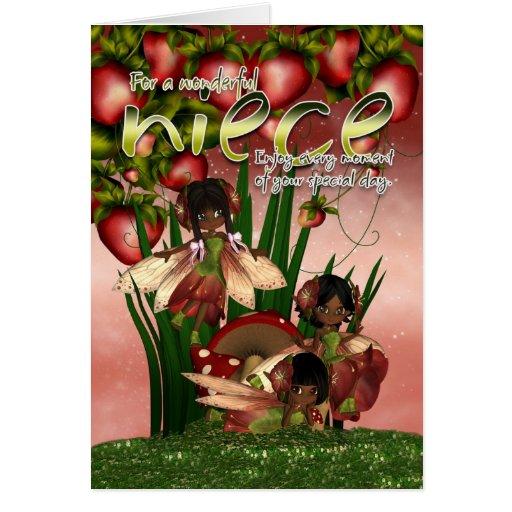 Cartão de aniversário do afro-americano - sobrinha