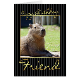 Cartão de aniversário do amigo com Capybara