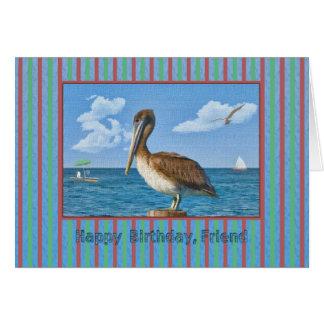 Cartão de aniversário do amigo com pelicano de