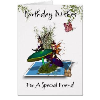 Cartão de aniversário do amigo - fadas góticos bon