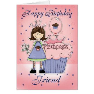 Cartão de aniversário do amigo - princesa do cupca