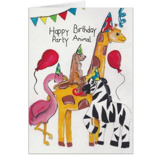 Cartão de aniversário do animal de partido