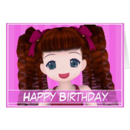 Cartão de aniversário do Anime