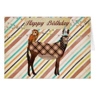 Cartão de aniversário do asno & da coruja