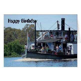 Cartão de aniversário do barco de pá
