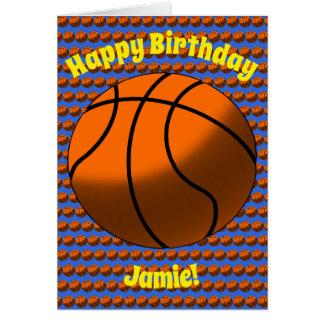 Cartão de aniversário do basquetebol