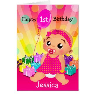 Cartão de aniversário do bebê ético primeiro -
