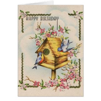 Cartão de aniversário do Birdhouse do vintage