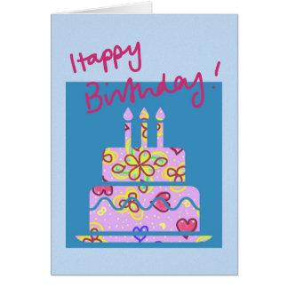 Cartão de aniversário do bolo de aniversário de