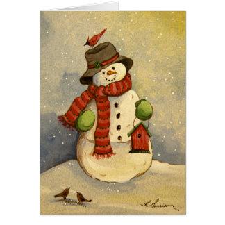 Cartão de aniversário do boneco de neve 4905 & do