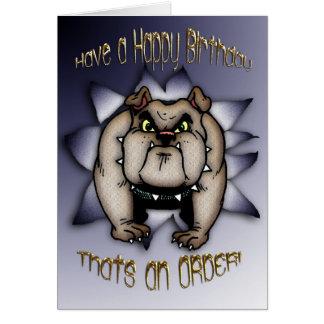 Cartão de aniversário do buldogue, buldogue que dá