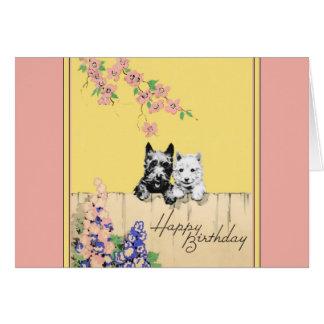 Cartão de aniversário do cão do Scottie para uma