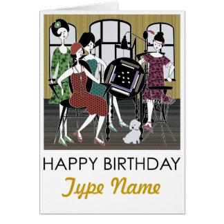 Cartão de aniversário do cão dos Flappers do Mah