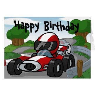 Cartão de aniversário do carro de corridas