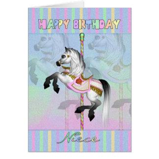 cartão de aniversário do carrossel da sobrinha -