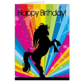 Cartão de aniversário do cavalo da silhueta de