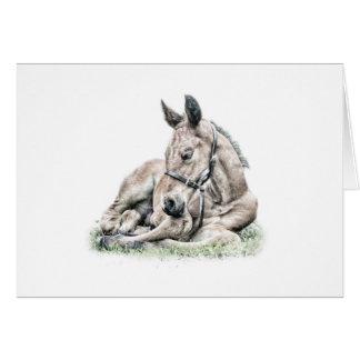 Cartão de aniversário do cavalo do sono do potro
