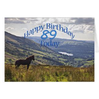 Cartão de aniversário do cavalo e da paisagem 89th