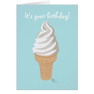 Cartão de aniversário do cone do Softy