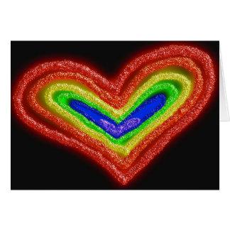 Cartão de aniversário do coração do arco-íris
