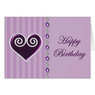 Cartão de aniversário do coração e das jóias